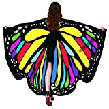 """Christmas Party Soft Fabric Butterfly Wings Shawl Fairy Ladies Nymph Pixie Costume Accessory ((L)168cm(W)130cm/66""""51"""", Butterfly Rainbow)"""