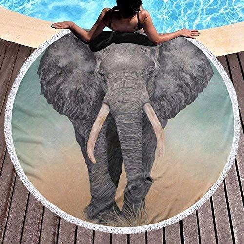 Toalla De Playa Redonda Elefante Gigante Tapiz De Borla De Yoga Toalla Multifuncional Absorbente Mantón De Playa De Microfibra Estera De Picnic De Ocio Colcha Mantel
