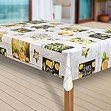 laro Wachstuch-Tischdecke Abwaschbar Garten-Tischdecke Wachstischdecke PVC Plastik-Tischdecken Eckig Meterware Wasserabweisend Abwischbar G11, Muster:Zitrone Zitronenbaum gelb, Größe:118x200 cm