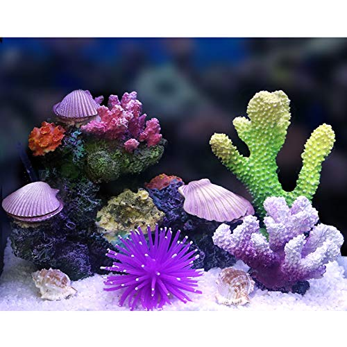 YQX-Coral Shaped Aquarium Landscaping Ornament Artificial Resin Coral Fish Tank Decoration Turtle Fish Playing Accessories,1