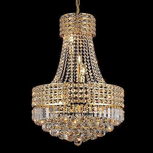 Lámpara de araña de oro de cristal para el comedor K9 lámpara de araña de cristal moderna clásica de lujo estilo Imperial 9 luces lámpara de araña techo comedor sala de estar sala de estar lámpara de araña de techo dormitorio base E12 (oro)