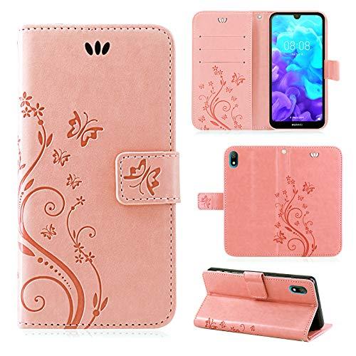 betterfon | Huawei Y5 2019 Hülle Handy Tasche Handyhülle Etui Wallet Hülle Schutzhülle mit Magnetverschluss/Kartenfächer für Huawei Y5 2019 Blume Rosegold