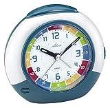 Atlanta 1678 - Despertador analógico Unisex para niños, con función de repetición, luz, botón de presión y Alarma in Crescendo. Tamaño Aprox.: 11 cm. - Blanco/Verde