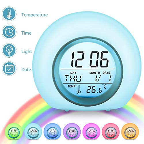 Charminer kids Alarm Clock,Digital Alarm Clock&Bedside Clock.7 Colors Changing...