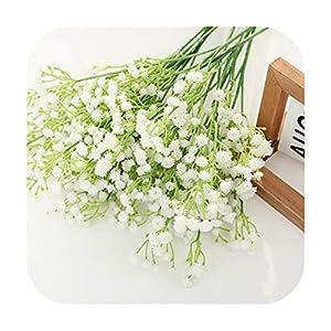 Silk Flower Arrangements F-pump 50Cm Babies Breath Plastic Artificial Flowers Pu Latex Gypsophila Fake Flowers DIY Bouquets for Wedding Home Arrangement Decor-White-1Pc