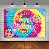 Lofaris Tie-Dye Birthday Party Backdrop 60's Hippie Theme Happy Birthday Background Groovy Sign Rainbow Birthday Decorations Cake Table Banner Supplies 5x3ft