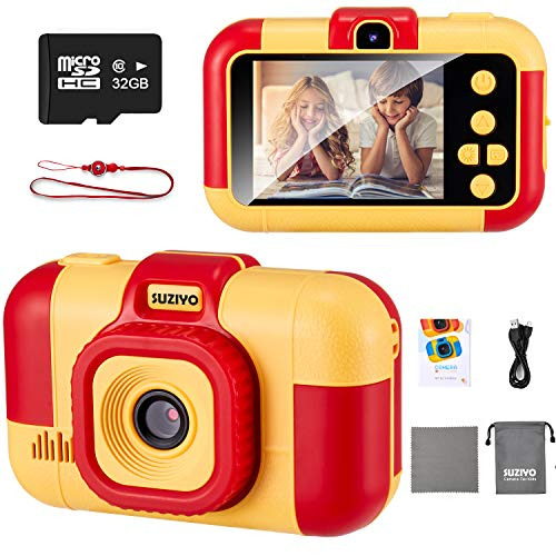 SUZIYO Kids Digital Camera, Children Selfie Video Camcorder 1080P Dual Lens 2.4 Inch HD, Best Christmas Electronic Gifts Toys for Age 3-10 Years Old Boys & Girls Toddlers (with 32G Micro SD Card, Red)