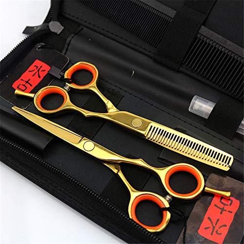 Ciseaux Coiffure Professionnel Super Sharp 5.5 pouces Outil Trousse Mince Ciseaux de coiffeur Combinaison Set Parfait pour les femmes et les hommes(D'or)