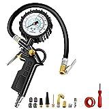 Anykuu Manometro Pressione Gomme per Pneumatici Auto e Moto 220PSI Resistente Manometro per pneumatici con quadrante grande Viene fornito con quattro coperchi delle valvole e due ugelli di conversione