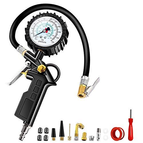 Medidor de presión de neumáticos, manómetro de alta precisión para neumáticos de bicicleta, motocicleta, coche con manguera con válvula de escape 220PSI