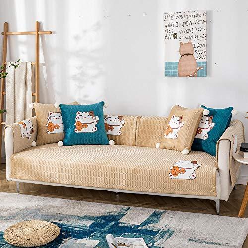 YUTJK Salón de sofá,Fundas de Asiento de sofá de Tela para Sala de Estar,Funda Protectora de Muebles,Juegos de sofá de Felpa de Gato de Dibujos Animados,para sofá de 1/2/3/4 plazas,Beige