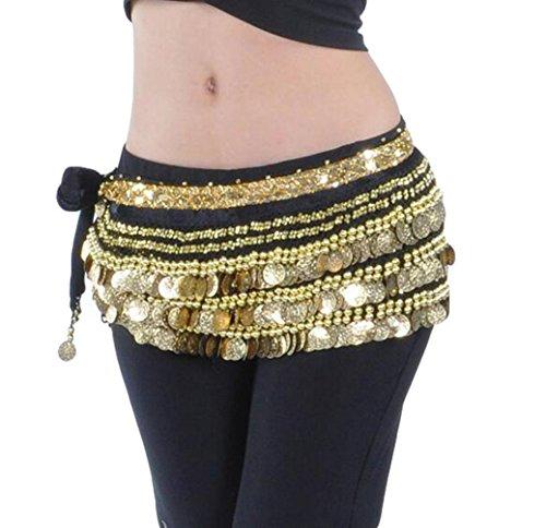 YuanDian Damen Münzen Bauchtanz Gürtel Berufs Bauchtanz Tanzkleidung Taillenkette Hüfttuch Gürtel Röcke Bauch Tanzen Schal Schwarz+Goldmünzen