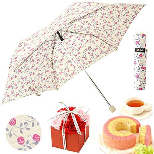 母の日 日傘 折りたたみ傘 晴雨兼用 花コラボケーキ洋菓子 ギフトセット 母の日のプレゼント (野ばら・ベー...