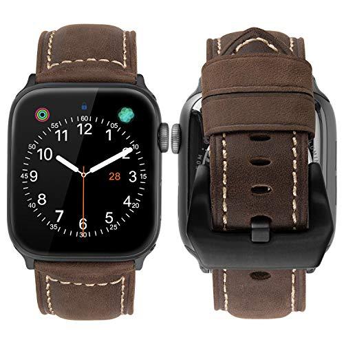 MroTech Correa Watch 42mm 44mm Series 5 4 3 2 1 Piel genuino Correa Cuero Watch 44mm 42mm Repuesto de Pulsera Banda de Reloj de Cuero Reemplazo para iWatch (42 mm / 44 mm, Café)