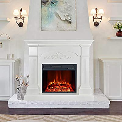 """Barton 44"""" Wide Crawford Large Electric Fireplace - 1500W Insert Fireplace Heater Realistic Flame Log Hearth with Remote Control, White"""