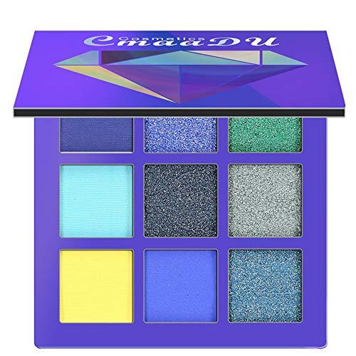 Luckhome  Lidschatten Palette Flawless Cosmetic Matte Eyeshadow Cream Makeup Palette Shimmer Set 9 Farben Lidschatten 9-Farben-Diamantschatten für Hellen Lidschatten(B)