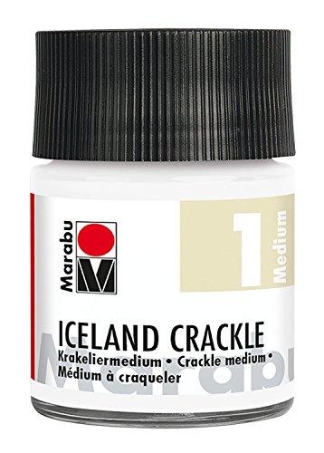 Marabu 12620005400 - Krakeliermedium, Iceland Crackle, Reißlackmedium auf Wasserbasis, lichtecht, wetterfest, schnell trocknend, Zwei - Komponenten - System für Reißlack - Technik, 50 ml, transparent