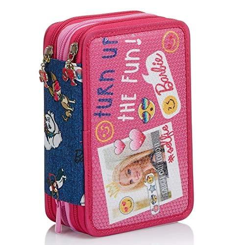 Astuccio 3 Scomparti Barbie, Power to the Girl, Rosa, Portapenne completo di materiale per la Scuola