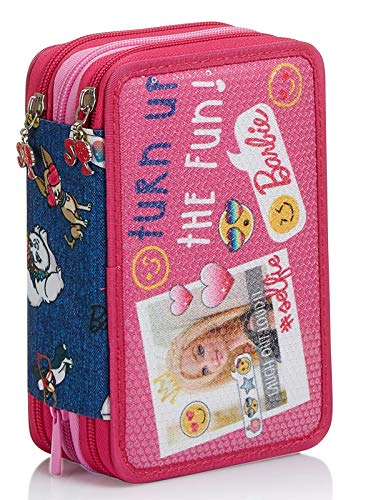 Astuccio 3 Scomparti Barbie, Power to the Girl, Rosa, Portapenne completo di materiale per la Scuola