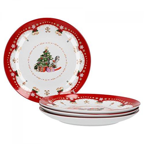 Van Well 4er Set Gebäckteller Weihnachtszauber Ø 26,5 cm, Porzellan Plätzchenteller, Servierteller für Kekse, Lebkuchen und Gebäck, Weihnachtsmotiv