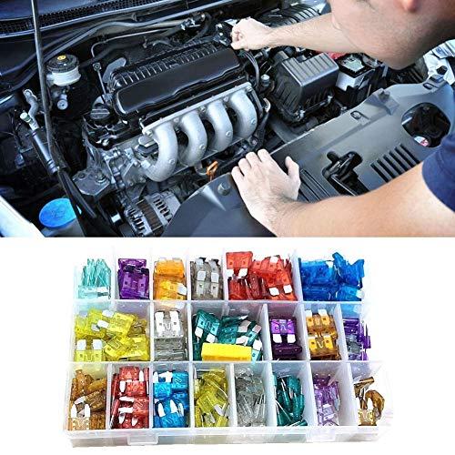 Remifa 400 Stück Standard Auto Sicherungen KFZ Autosicherungen Set Flachsicherungen Mini (2A / 5A 7.5A / / 10A / 15A / 20A / 25A / 30A / 35A/40A mit 1 Sicherungszieher)(400Stück Standard&Mini)