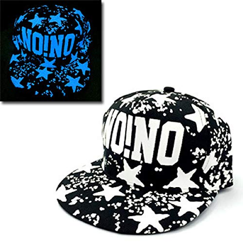 mlpnko Männer und Frauen Fluoreszierende Hut Paar Hip-Hop-Hut Hip-Hop-Hut leuchtende Kappe flach entlang Baseball-Hut NONO blaues Licht einstellbar