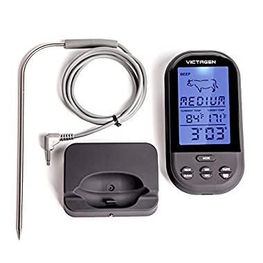 victagen Remote Wireless Digital Kitchen Food Meat Thermometer Instant Read Super Fast Read Thermometer with Large LCD and Timer Alarm For BBQ Oven Grill Smoker and Outdoor
