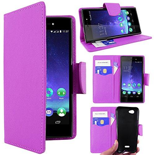 ebestStar - kompatibel mit Wiko Highway Star 4G Hülle Kunstleder Wallet Hülle Handyhülle [PU Leder], Kartenfächern, Standfunktion, Lila [Phone: 141 x 71.4 x 6.6mm, 5.0'']
