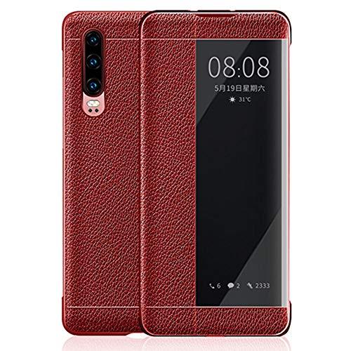 JZWDMD Huawei P10 / P20 / P30 Hülle, UtraSlim Echtleder Smart Cover (mit Smart View Fenster und Auto Standby) für P10 Plus / P20 Pro / P30 Pro,Red,HuaweiP30Pro