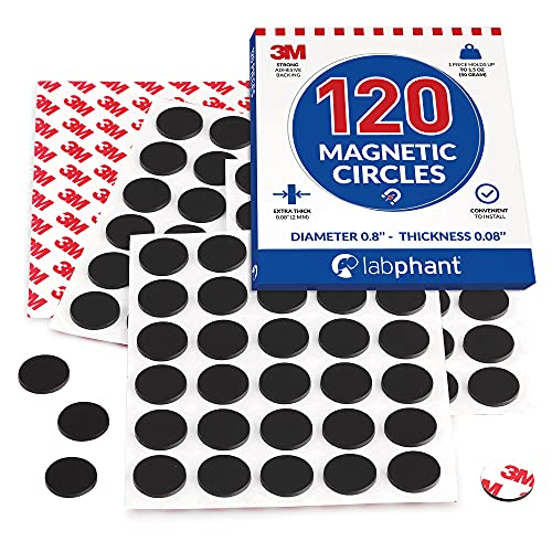 """Round Magnets with Adhesive Backing, 120 Pieces Magnet Circles (Diameter 0.8'"""" x 0.08"""") on 4 Tape Sheets, with 3M Strong Adhesive Backing. Perfect for DIY, Art Projects, whiteboards & Fridge"""
