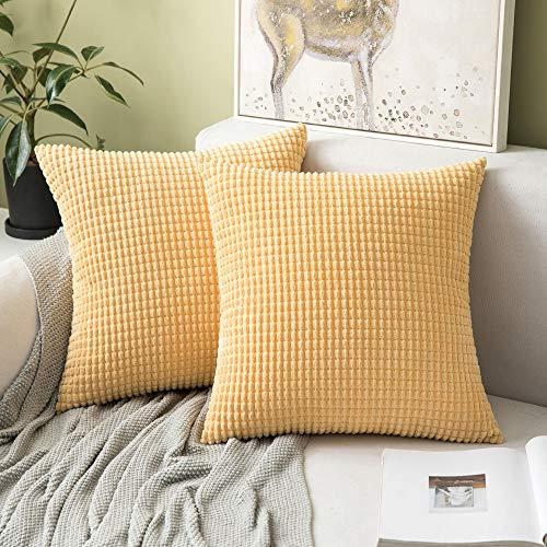 MIULEE 2er Set Cord Weiches Massiv Dekorativen Quadratisch Überwurf Kissenbezüge Kissen für Sofa Schlafzimmer 20