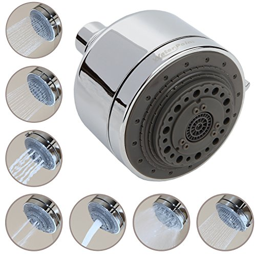 """3.5"""" Multi Function High Pressure Shower Head by WaterPoint, with 7 Spray Settings Including Aerated Bubble Stream, Deep Massage, Heavy Rinse, Rain Mist, Heavy Rain, Wide Angle Rain, Heavy Power Rain"""