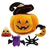 My First Halloween Pumpkin Plushie Set,Stuffed Hat Pumpkin Plush Pillow Doll,Devil Bat Spider Moon Candy Stuffed Doll for Halloween Fall Harvest Plush Cushion Decorations for Kids (Orange-A, 11.8IN)