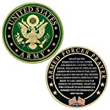"""Expert craftsmanship – Makes a perfect Army graduation gift, or an Army gift for kids, women or men The front of our Army coin has the Army Star emblem The back of the Soldier coin has the """"Armed Forces Prayer"""" A perfect representation of Army except..."""