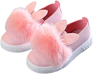 Yiwa Baby Girl Cute Cartoon Rabbit Ear Pompom Shoes Soft Sole Leather Flat Shoes Pink 23