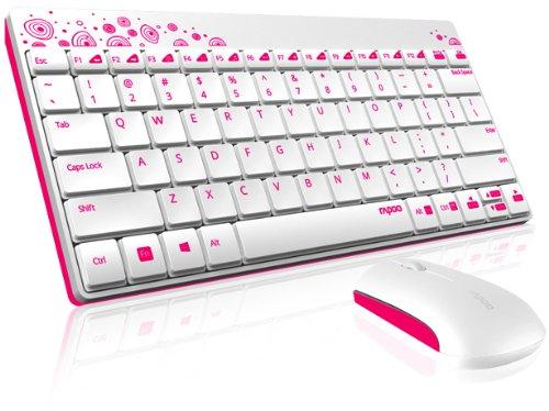 Rapoo 8000 kabellose Tastatur mit Maus, 2,4 GHz Wireless-Verbindung, hochauflösende 1000 DPI-Technik, weiß/pink