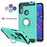 Compatible for Huawei Y6 2019 Phone Case,Y6 Pro 2019,Honor 8A Case,LDStars[HD Screen Protector] Heavy Duty Shockproof Protective Cover with Rotatable Ring Kickstand-Mint Green
