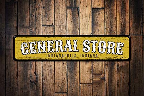 General Store Emplacement des Signes, personnalisé City State Plaque en métal, Décor de Cuisine personnalisés, Maison de Campagne Décor, Plaque en métal, 10,2 x 45,7 cm