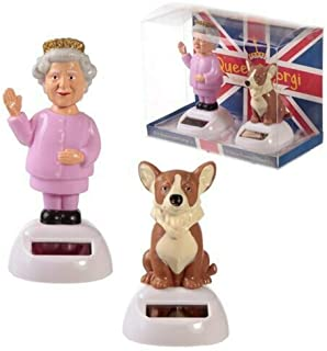 Puckator Solar Pal Queen and Corgi Toy - Fun Novelty Dancing Toy - UK - England - Car Desktop Office Window Sill Toy