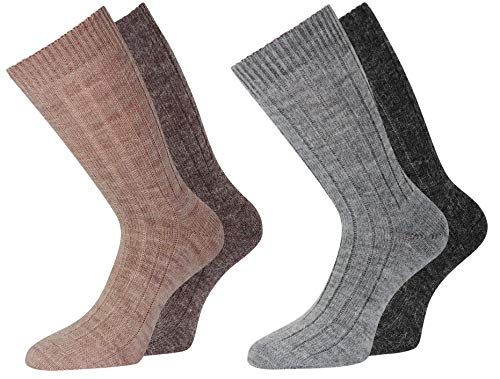 Alpaka Socken Wollsocken dünn Herren u. Damen mit Alpaka Wolle weich & warm, 4 Paar 39-42 (4er 39-42)