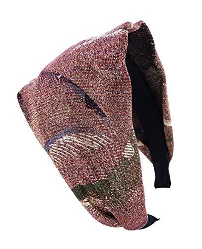 axy HR24 Breite Haarreif Glitzerfäden Stoff mit Federmuster (Pink & Gold)