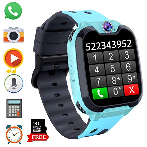 Game Kids Smart Watch Phone for Students, Boys Girls 1.54 inchesTouch Screen Smartwatch with MP3 Player Games Camera Alarm Clock Stopwatch for Electronic Learning Toys Birthday Gifts (S9 Blue)