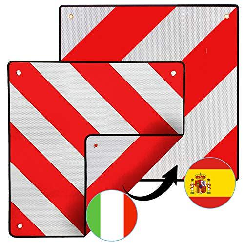Hengda Warntafel für Italien und Spanien, 2in1 50x50cm Aluminium Warntafel, Reflektierend, für Fahrradträger, Heckanhänger, Wohnwagen, Anhänger