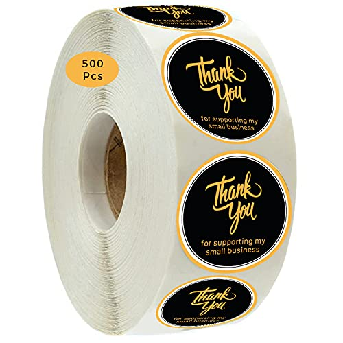 Thank You for Supporting My Small Business Stickers Roll   500 Count   1.5 Inch   Adhesive Stickers   Packaging, Labels, Round, Envelopes, Boutique, Mail, Stamp   Small Business Supplies   Black Gold