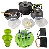 Utensilios de Cocina de Camping Hikking Pot Kit de Picnic al Aire Libre Utensilios de Cocina Set para Mochilero Trekking Negro