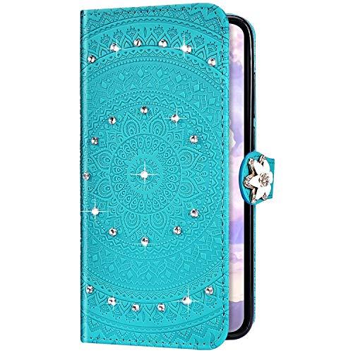Uposao Kompatibel mit Huawei P20 Pro Hülle Glitzer Diamant Strass Mandala Blumen Leder Hülle Flip Schutzhülle Handyhülle Brieftasche Wallet Bookstyle Case Tasche Magnet Kartenfach,Grün