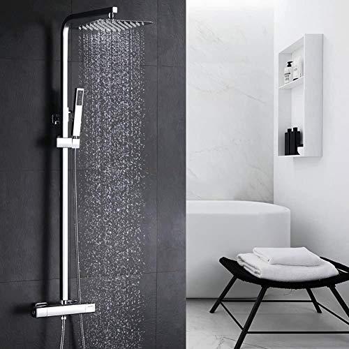 CJK Duschsystem mit Thermostat Duscharmatur Regendusche Eckig Duschset inkl. Überkopfbrause Handbrause Regenbrause