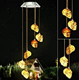 WavKin LED Solar Powered Skull Wind Chimes Halloween Decorations, Solar Powered Skeleton Wind Chime Lights with 6 LED Skeleton Decor Lights Skull Light for Indoor Outdoor Halloween, Party, Christmas