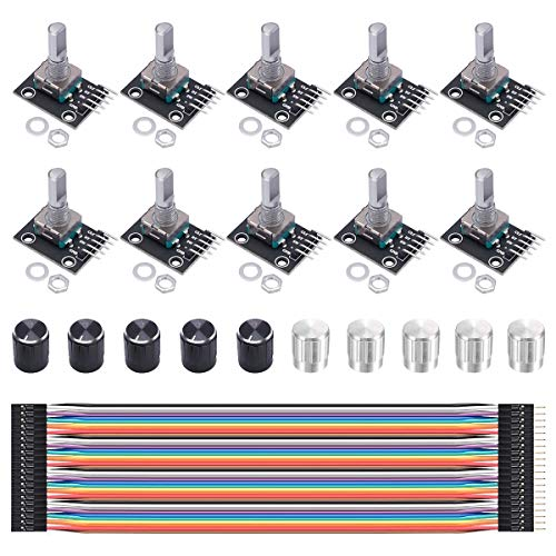 Youmile 10PCS Drehgebermodul KY-040 Brick Sensor Switch Button Entwicklungsplatine mit 10PCS 15×16.5 mm Knopfkappe, Dupont-Kabel für Arduino AVR PIC
