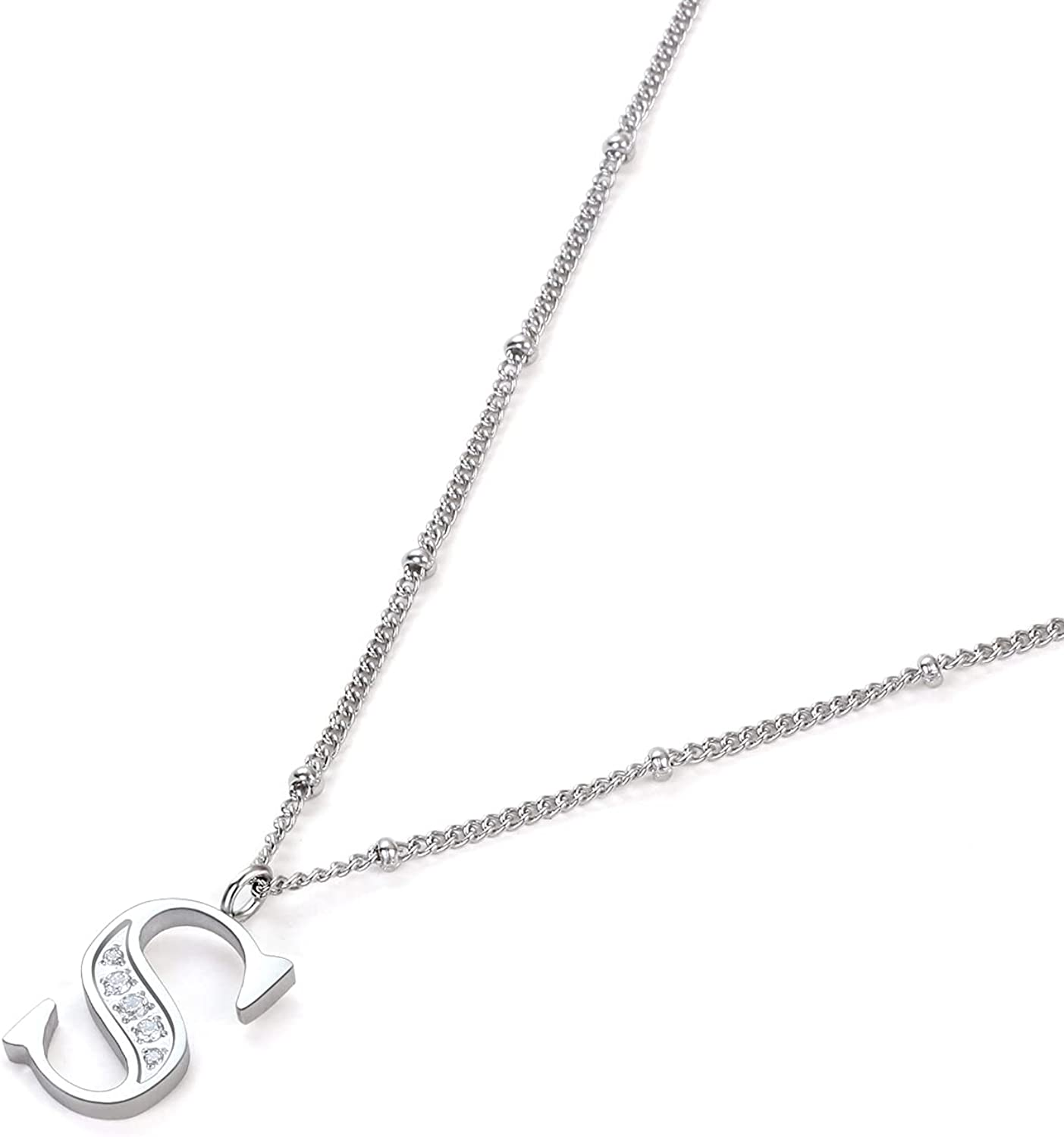 Initial Necklaces for Women, STINO Personalized Letter Necklace with AAAAA Cubic Zirconia, Hypoallergenic Dainty Choker Necklaces with Chain Extenders Jewelry Birthday Gift for Men, Mom, Best Friends